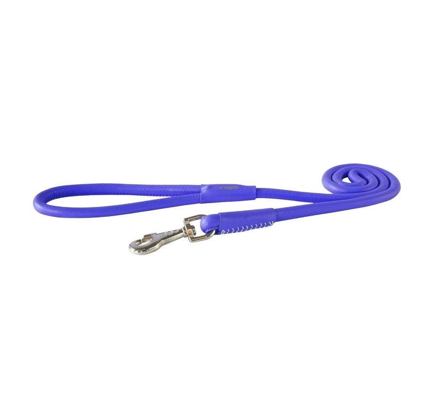 Rogz Leather Round Fixed Lead Purple