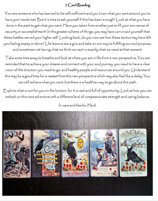 Emailed Five Card Tarot Reading and Image