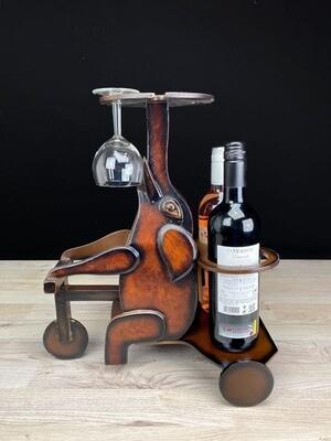 Viinipulloteline norsu + 4 lasipaikkaa