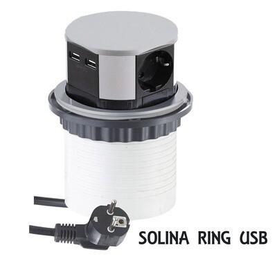 SOLINA RING USB -pistorasia 2xUSB + 3xpistoke