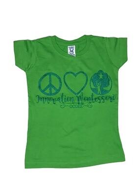 Dark Green Peace & Love T-Shirt