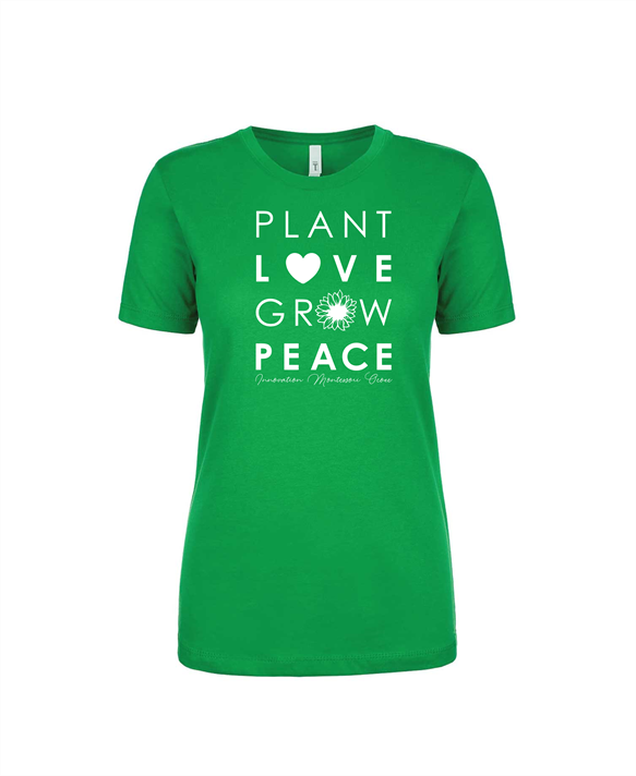 Dark Green Plant Love Grow Peace Fitted T-Shirt (Adult Only)