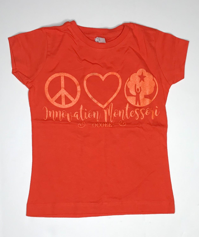 Orange Peace & Love T-Shirt