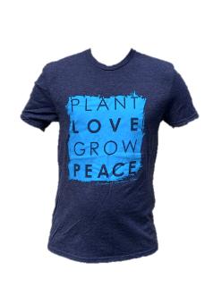 Gray Plant Love Grow Peace Unisex T-Shirt