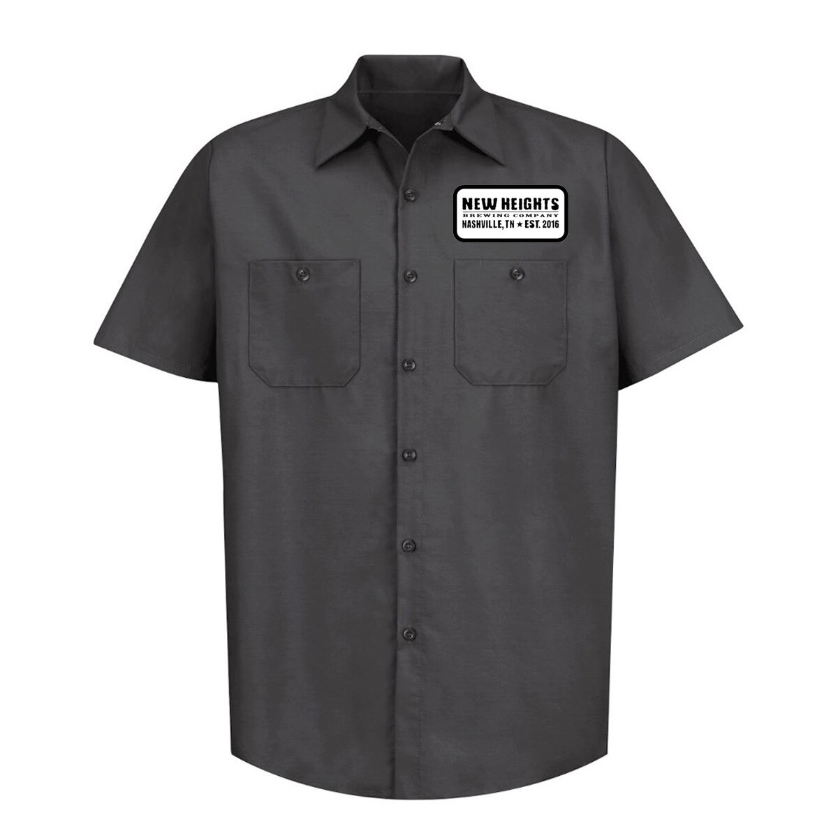 Men's New Heights Black Brewer Shirts w/logo Patch Sewn On Front Full Logo Imprint on back in White Ink.