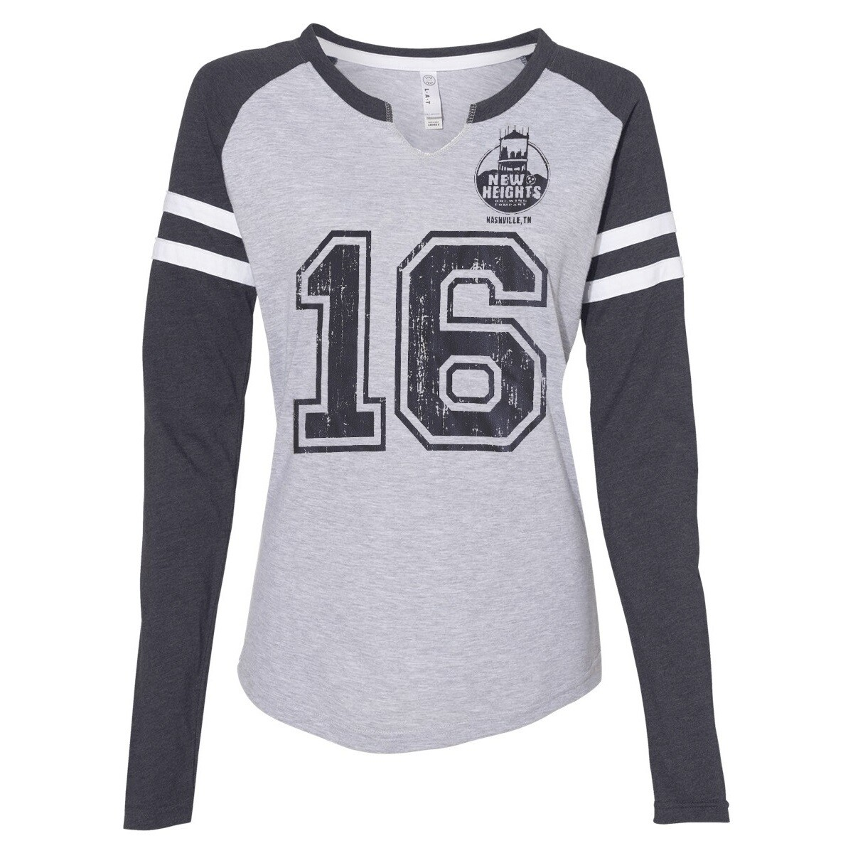 Clearance - Ladies Vintage Game Day Jerzee- Long Sleeve Heather Grey/Heather Navy - #16 for the year we launched (2016)