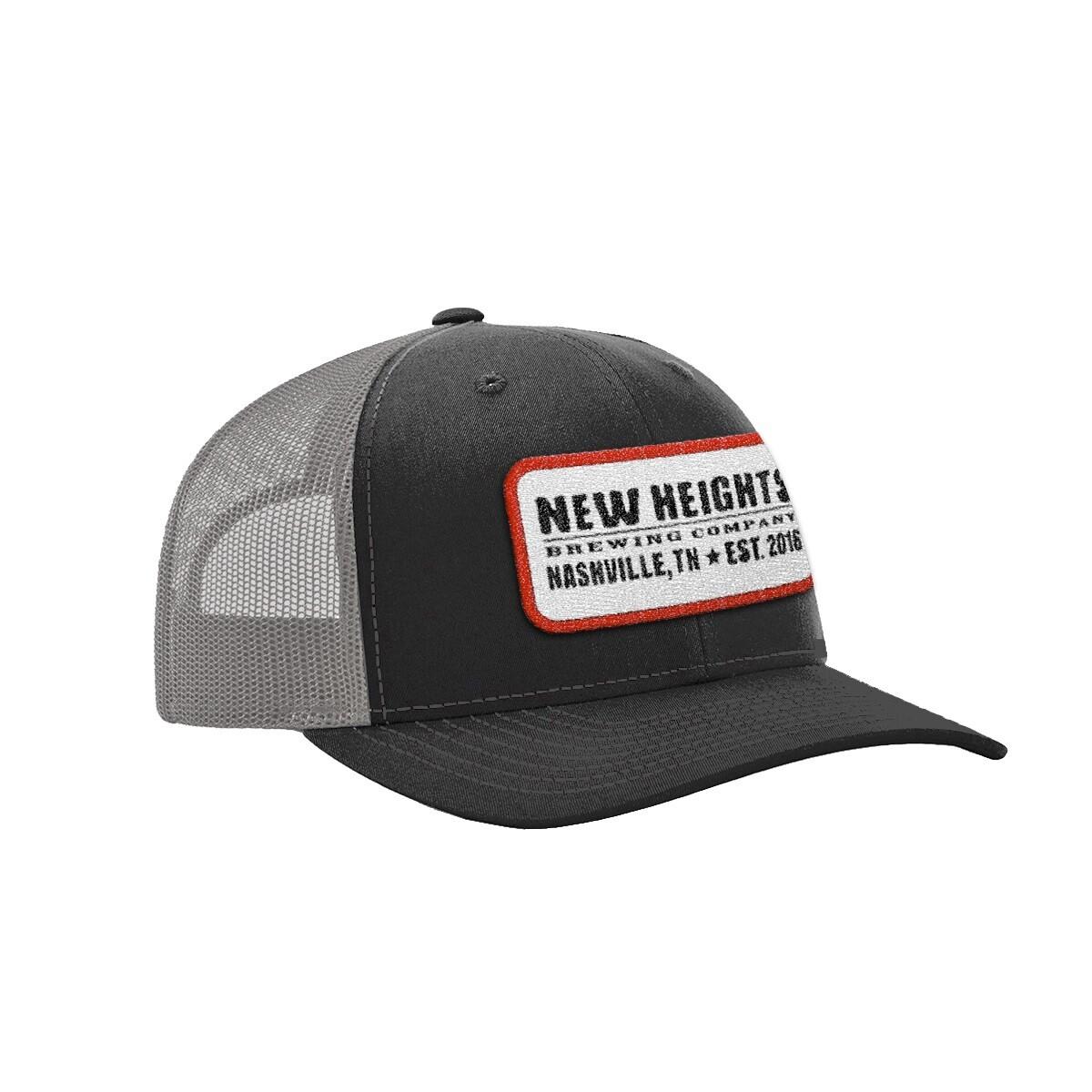 Black Trucker Cap w/Grey Mesh Back/Red Merrow Edge