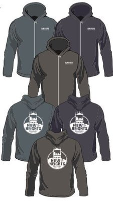 Bella Canvas 3739 Fleece Hoodie -  Asphalt/Heather Slate/Heather Navy