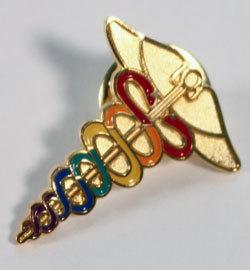 Caduceus Pin--Rainbow