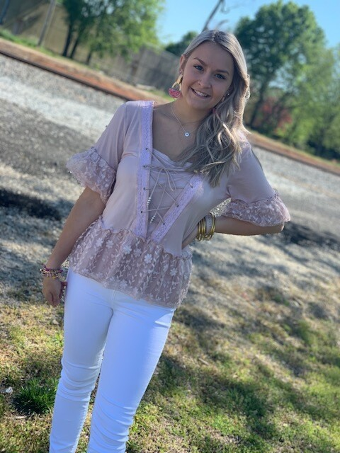 POL Pink Top Lace Front Lace Embroidery Hem/Sleeve