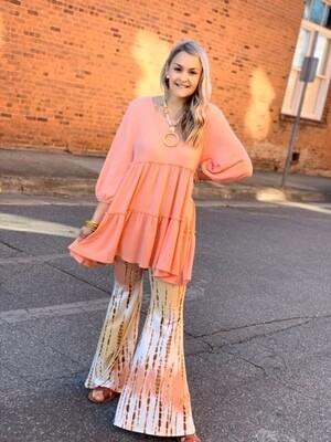 Carole C Pants  Tie Dye Peach Palazzo