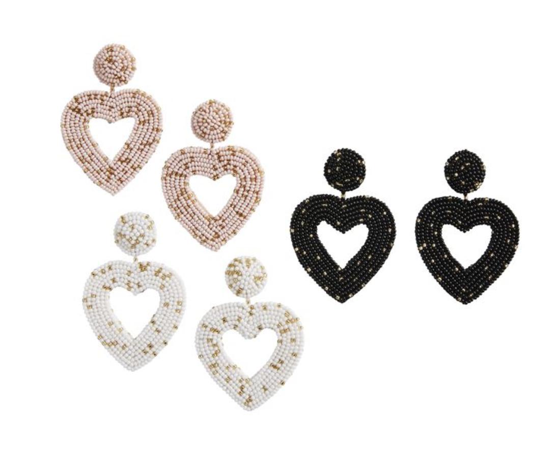 MP Beaded Heart Earrings