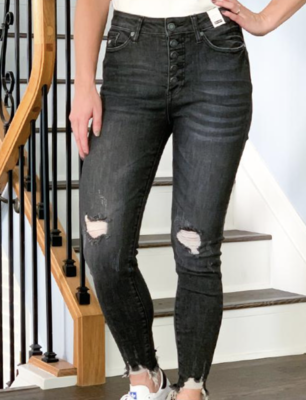 JB Distressed Black Button Fly Jeans
