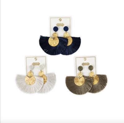 Earrings Hammered Tassel