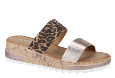 Wedge Leopard/Rose Gold sandals
