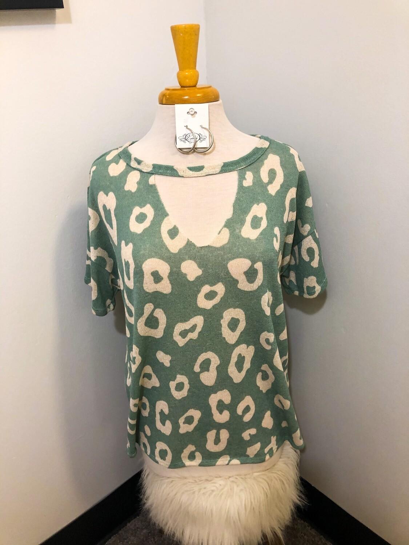 Leopard Hacci Knit V Neck Top