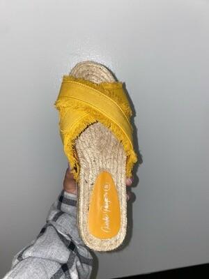 Yellow Fringe Platform Sandals