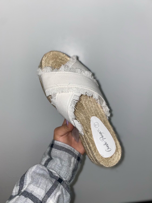 White Fringe Platform Sandal