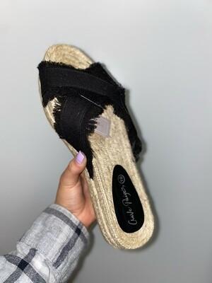 Black Fringe Platform Sandals