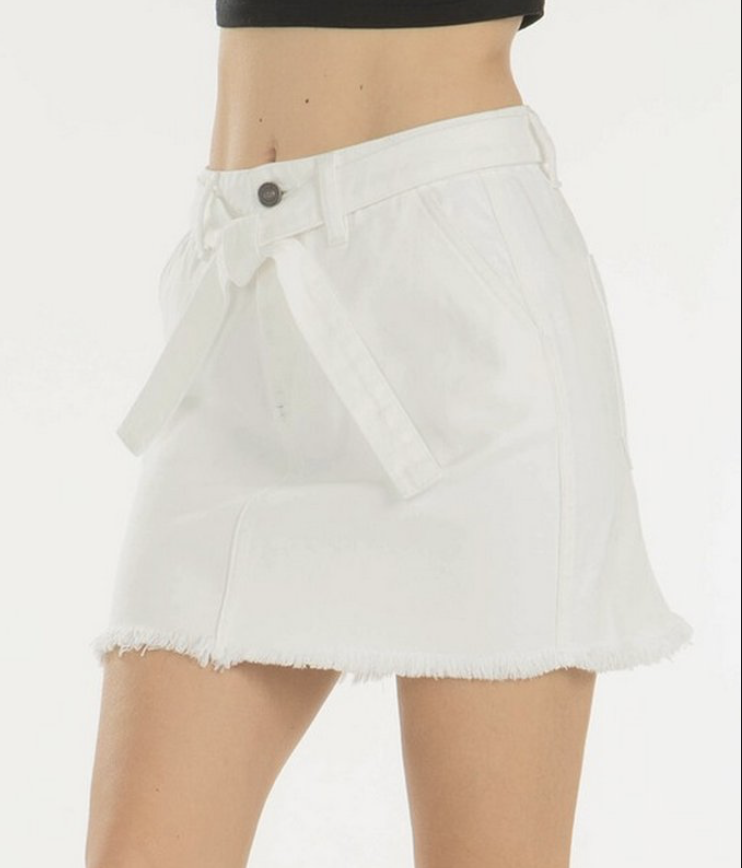 KC Mid A-Line Belted Mini Skirt Blk/Wht