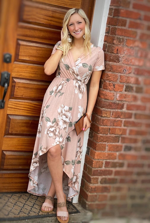 Mauve Floral High-Low Dress