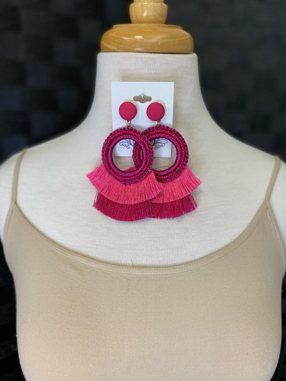Fuschia Tassel Earrings