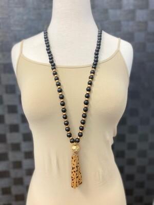 MS Necklace  Beaded Tassel Cheetah/Zebra