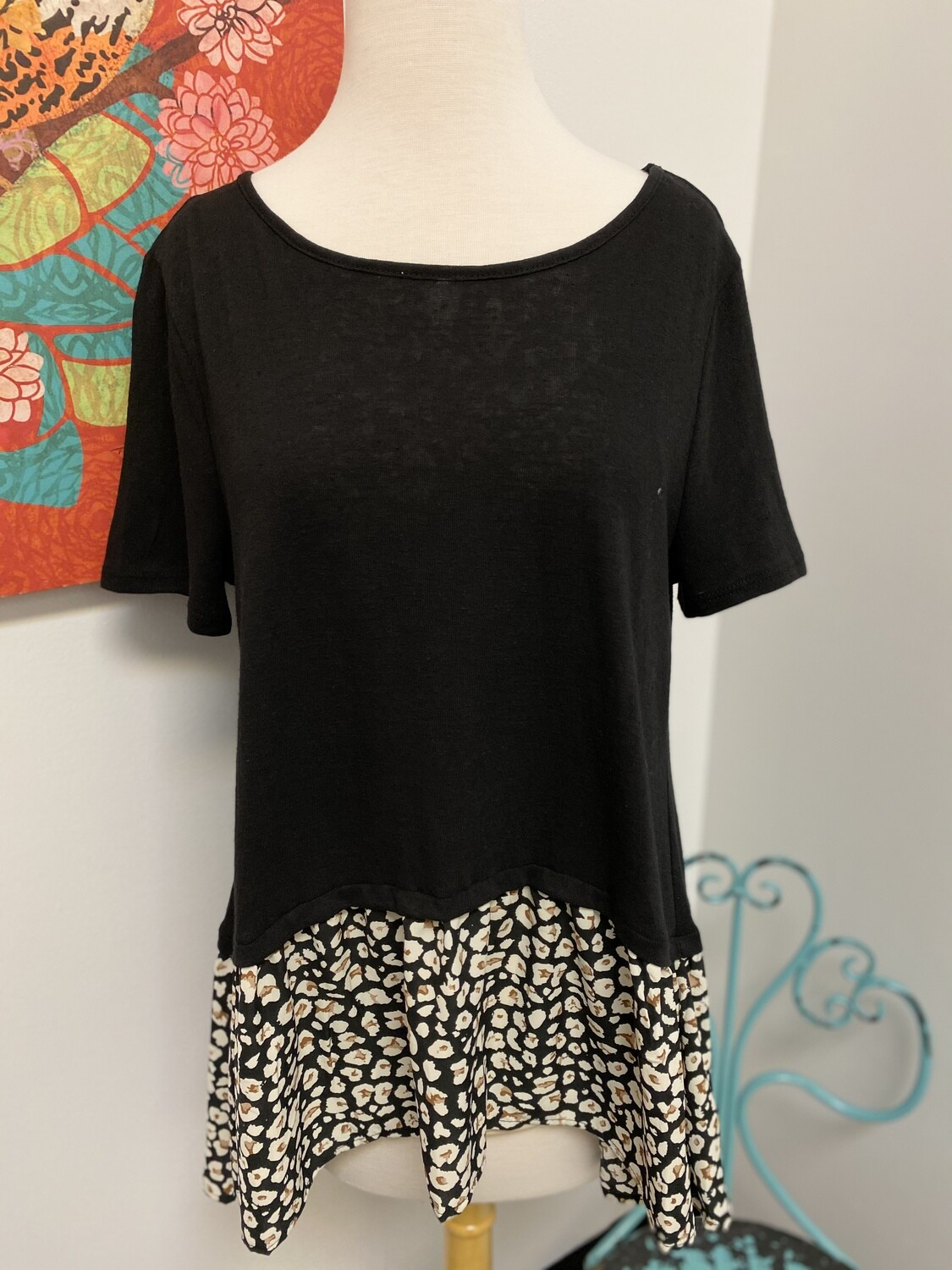 Leopard Split Back Top