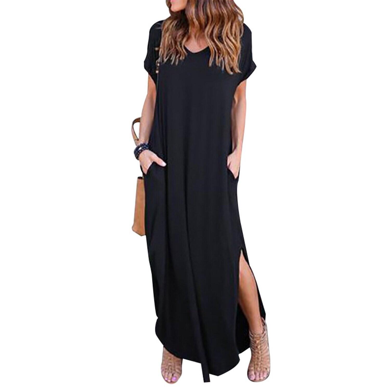 Black V-Neck T-Shirt Maxi Dress