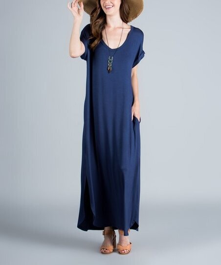Navy Basic Knit Maxi Dress