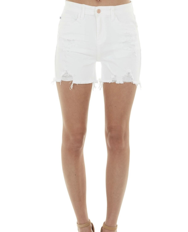 Mid-Rise White Destroyed Shorts