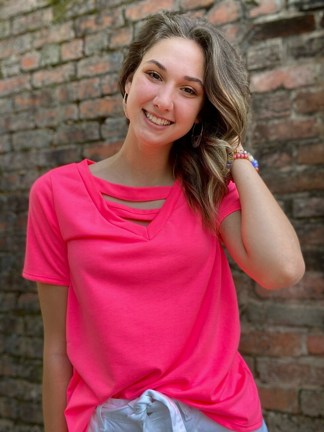Hot Pink Double Cross Front Top