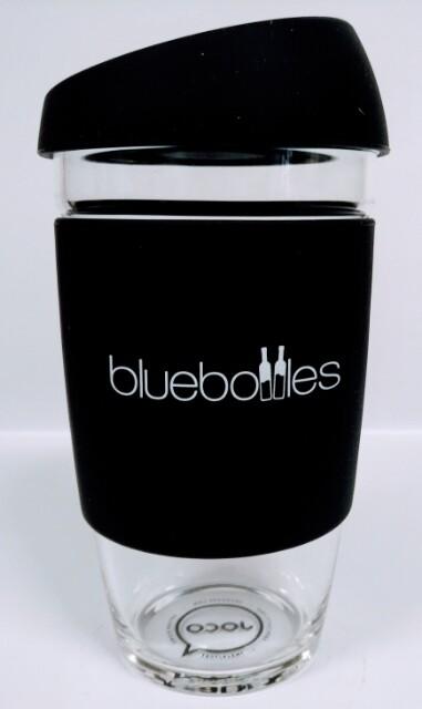 JOCO 16oz Reusable Glass Cup (Jumbo Size) – Black with Bluebottles Logo