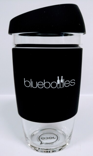 JOCO 16oz Reusable Glass Cup (Jumbo Size) – Black with Bluebottles Logo