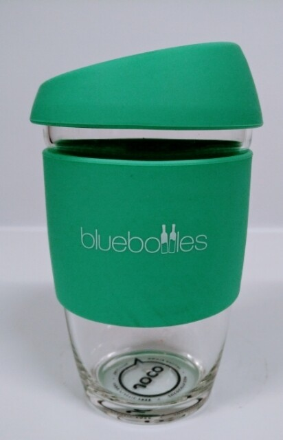 JOCO 6oz Reusable Glass Cup (Extra Small Cup Size) – Vintage Green with Bluebottles Logo