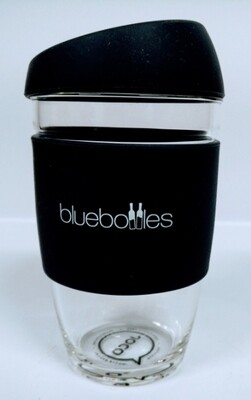 JOCO 6oz Reusable Glass Cup (Extra Small Cup Size) – Black with Bluebottles Logo