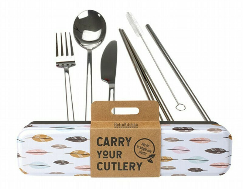 RetroKitchen Carry Your Cutlery Set - Leaves Design