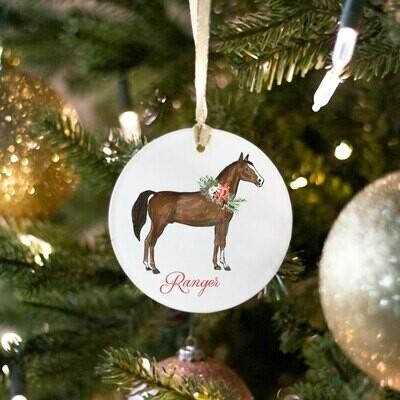 Round Glass Horse Ornament