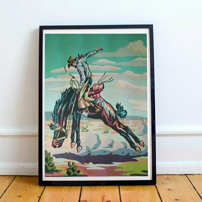 Cowboy Rodeo Poster Print