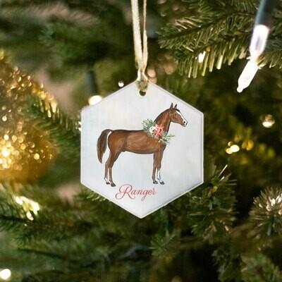 Hexagon Glass Horse Ornament