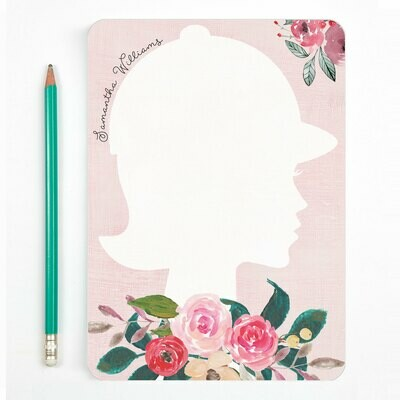 Custom Pink Floral Equestrian Silhouette Notes 5x7