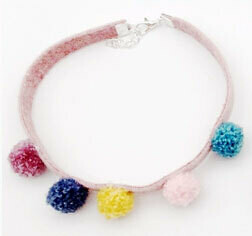 Five Pom Pom Cat Necklace Collar