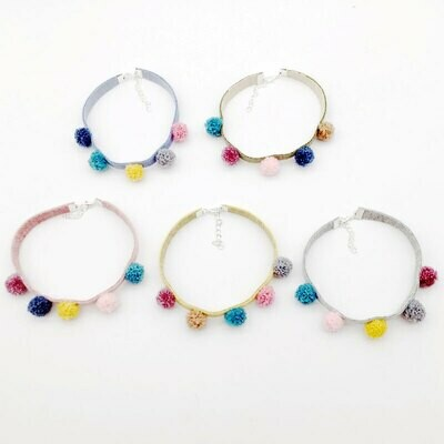 Five Pom Pom Cat Necklace Collar