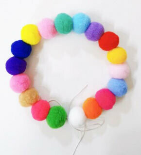 Wool Pom Pom Dog and Cat Collar Stretch Necklace