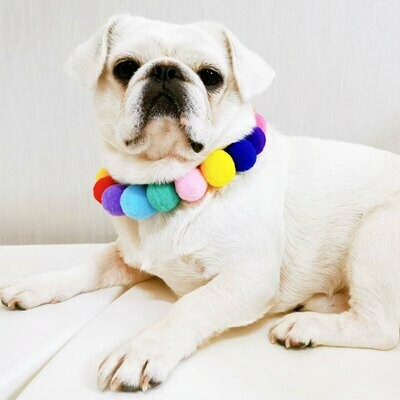 Wool Pom Pom Dog and Cat Collar Stretch Necklace