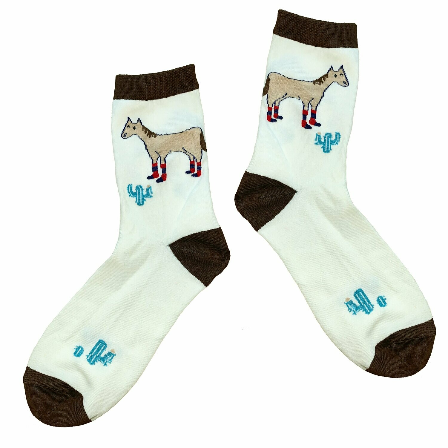 Cotton Crew Paddock Boot Horse and Cactus Socks