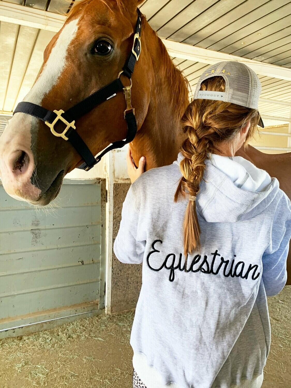 Embroidered Equestrian Hoodie Sweatshirt