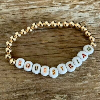 Equestrian Colorful Gold Bead Stretch Bracelet