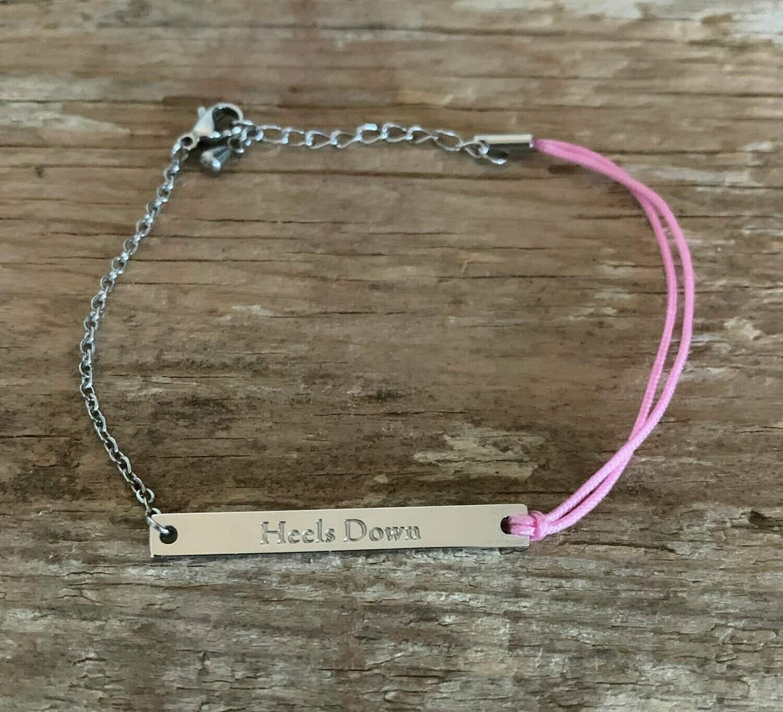 Silver Pink Heels Down Barn friendship Bracelet