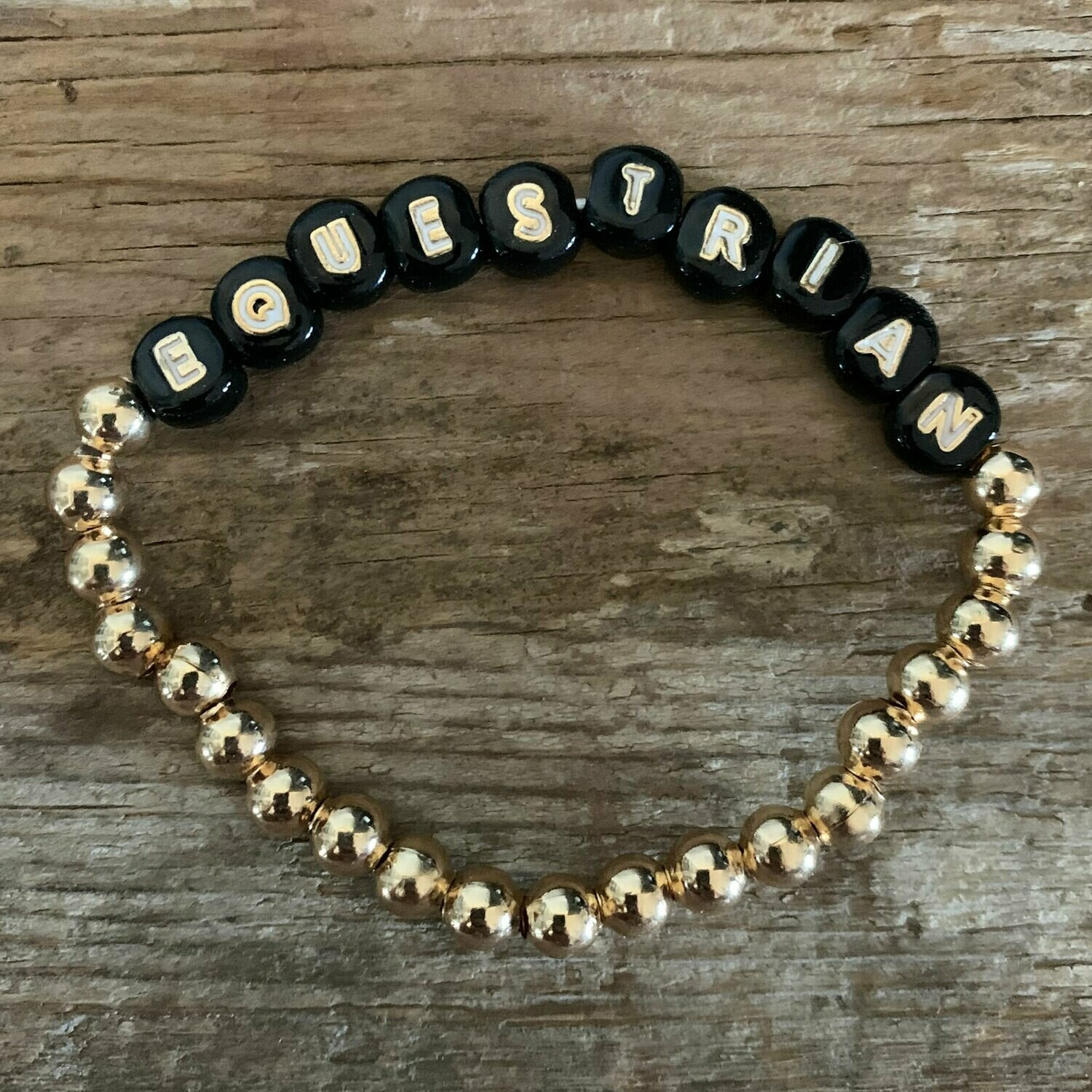 Black and White Equestrian Gold Bead Stretch Bracelet